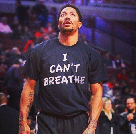 Derrick Rose wears I can't breath shirt